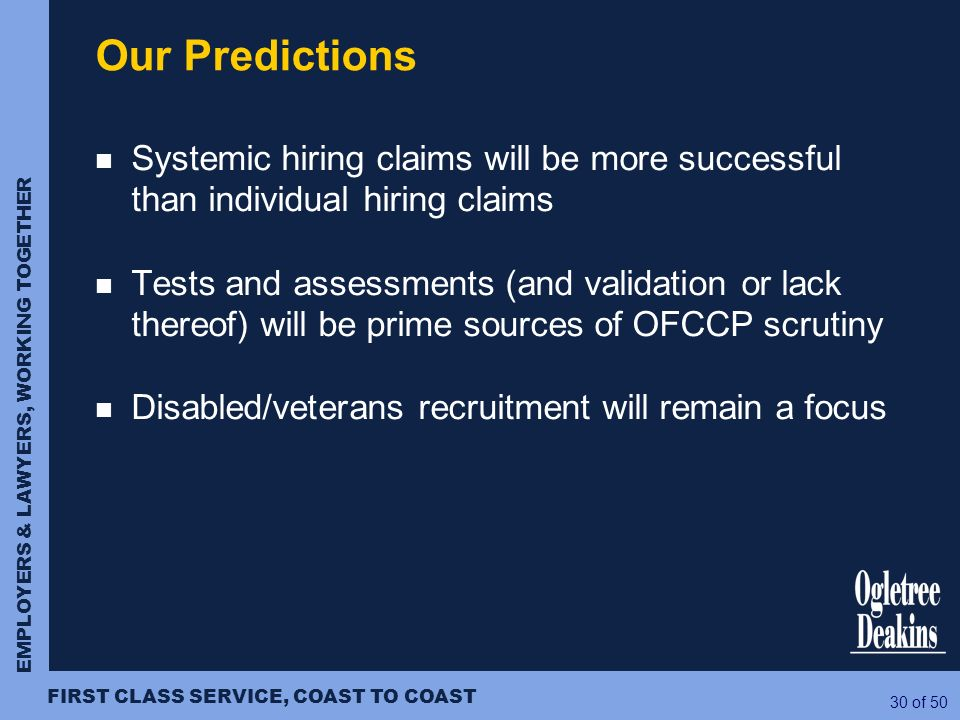 Our Predictions Systemic hiring claims will be more successful than individual hiring claims.