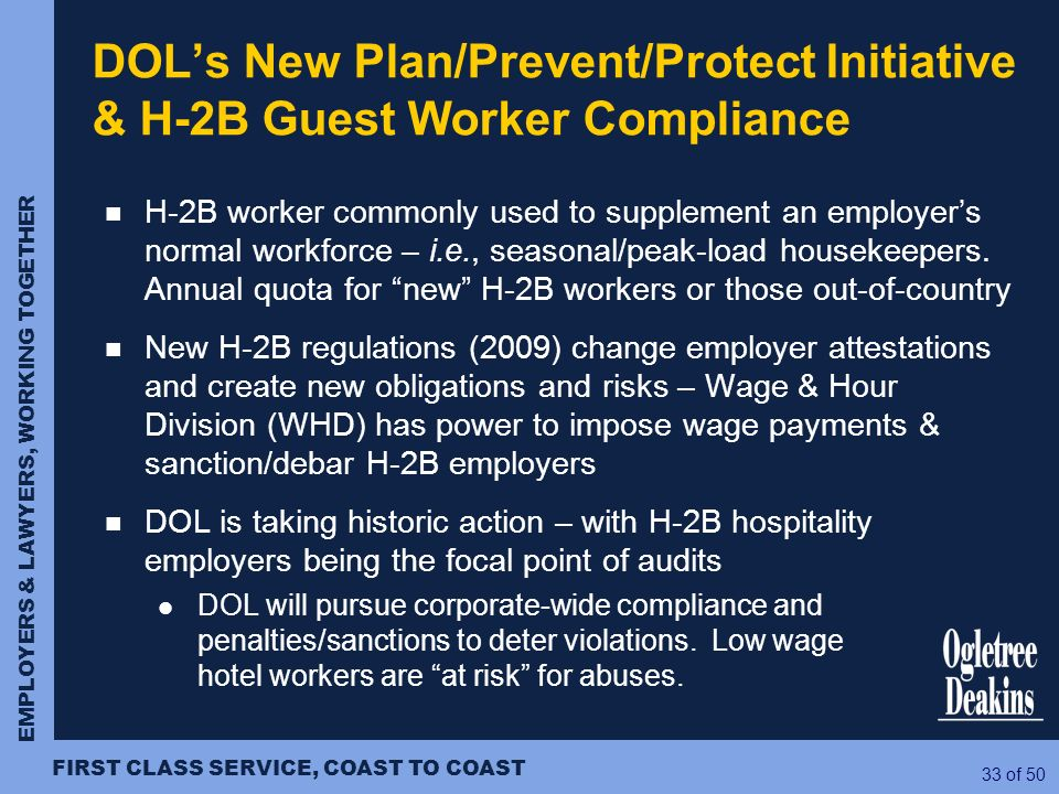DOL's New Plan/Prevent/Protect Initiative & H-2B Guest Worker Compliance