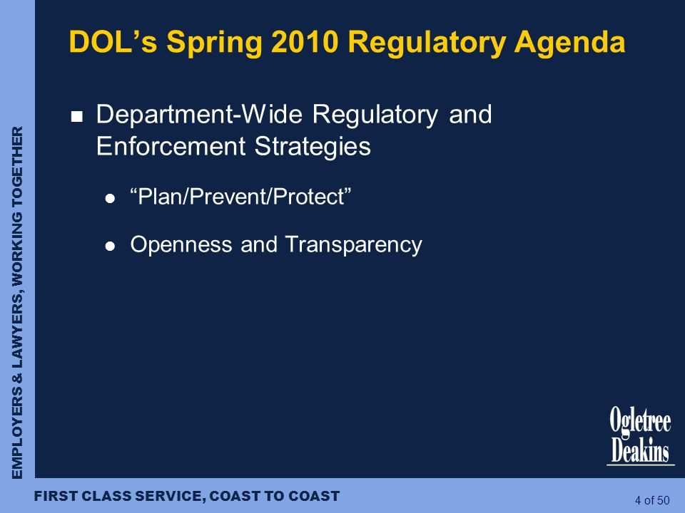 DOL's Spring 2010 Regulatory Agenda