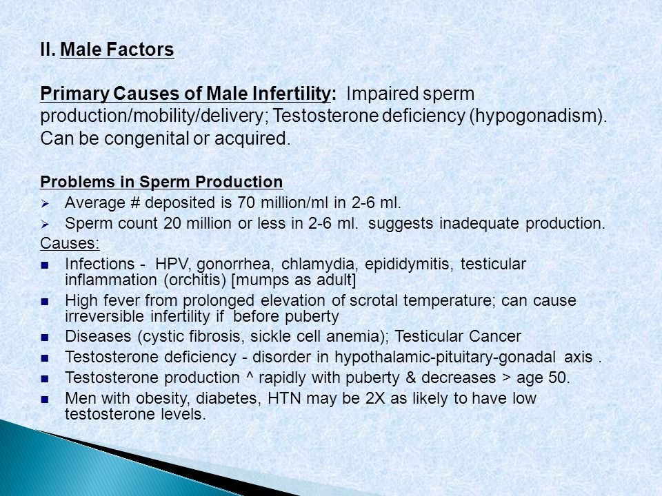 Primary Causes of Male Infertility: Impaired sperm