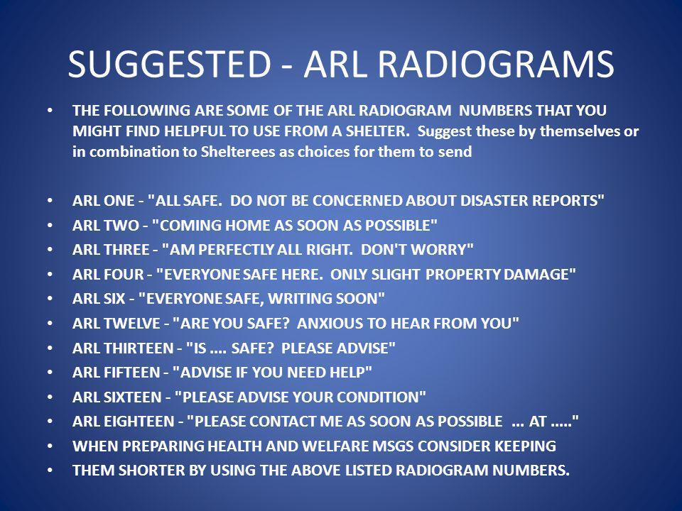 SUGGESTED - ARL RADIOGRAMS