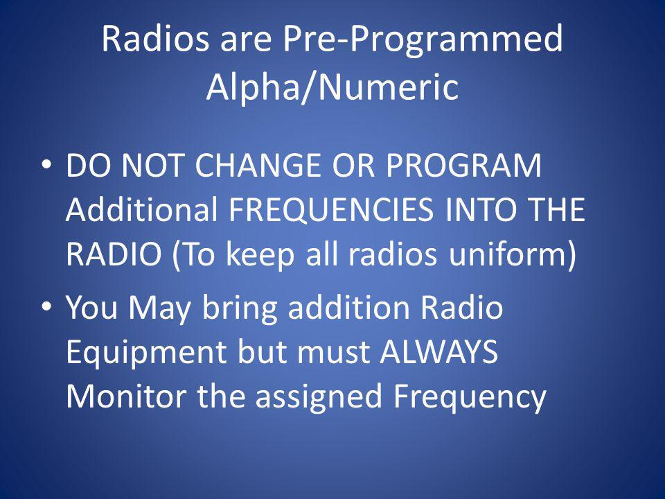 Radios are Pre-Programmed Alpha/Numeric