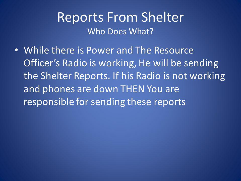 Reports From Shelter Who Does What