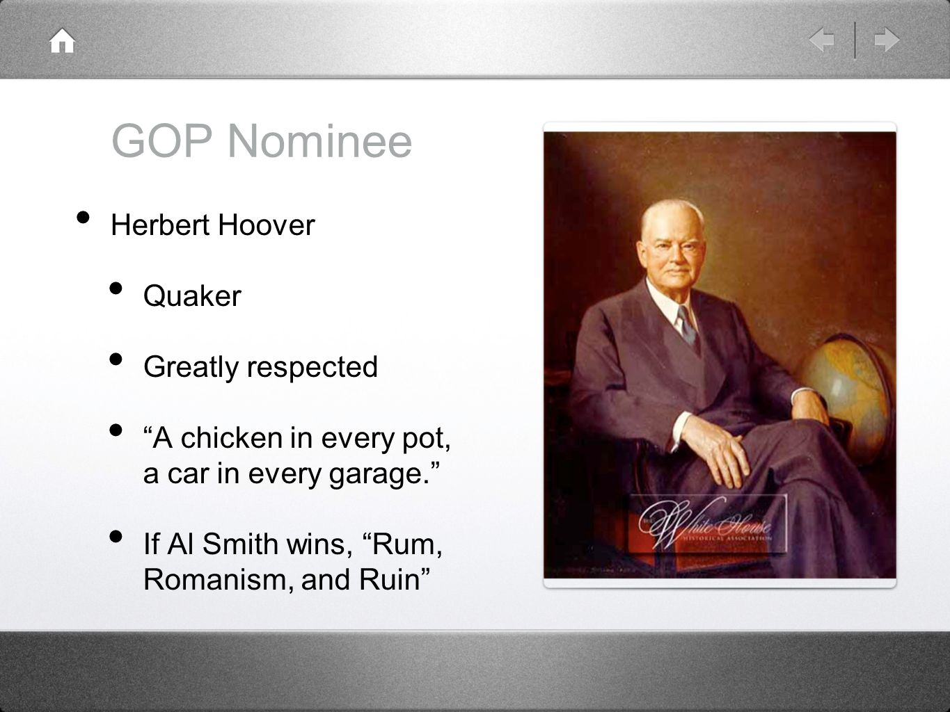 GOP Nominee Herbert Hoover Quaker Greatly respected