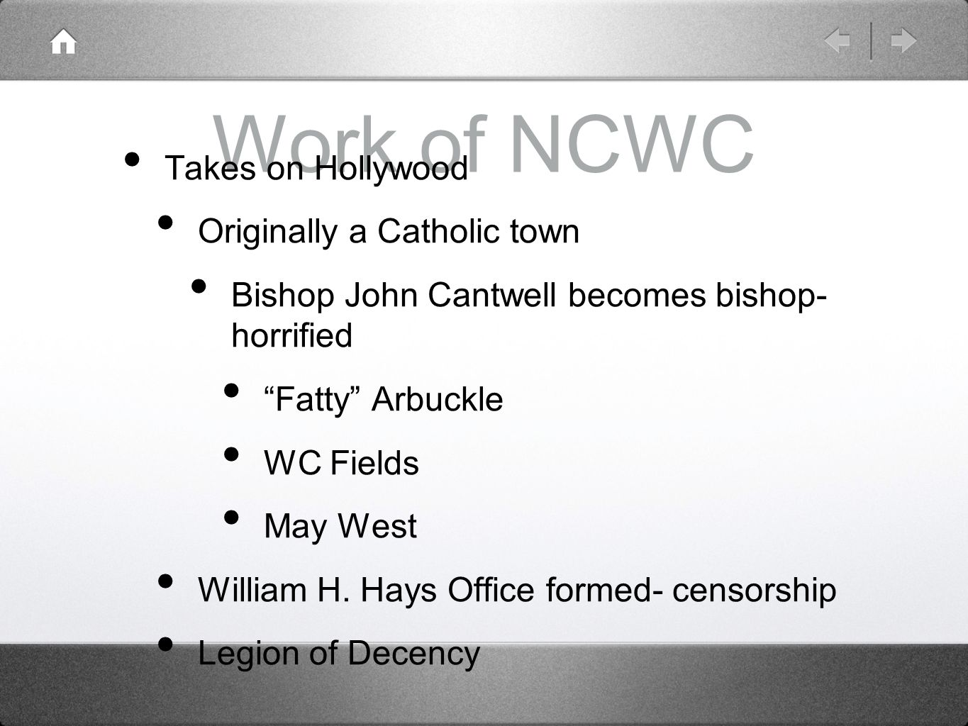 Work of NCWC Takes on Hollywood Originally a Catholic town
