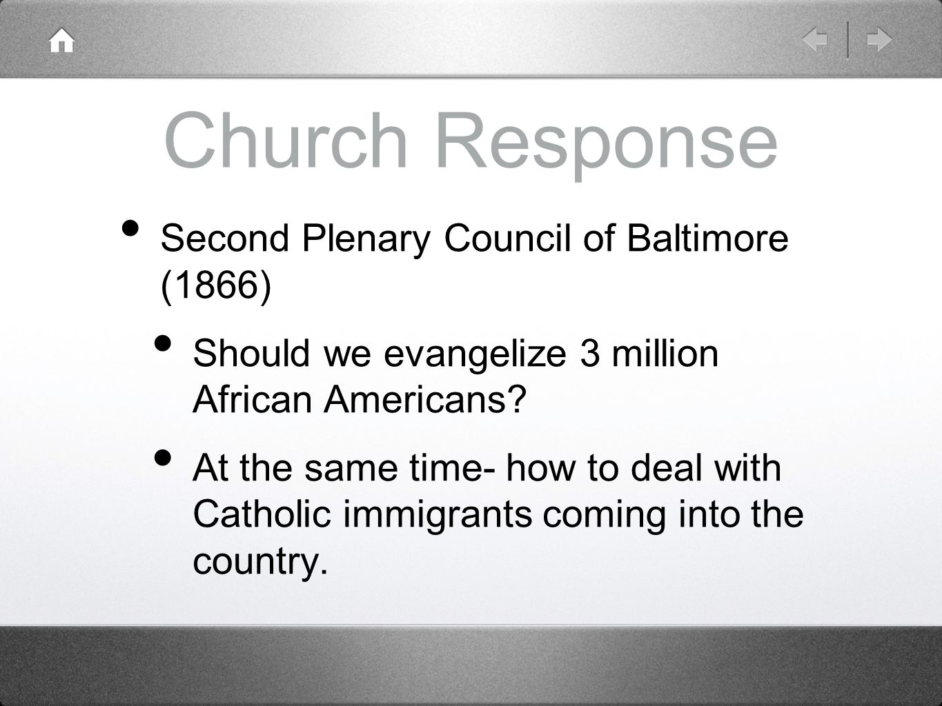 Church Response Second Plenary Council of Baltimore (1866)