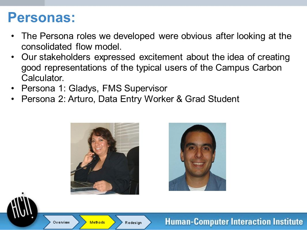 Personas: The Persona roles we developed were obvious after looking at the consolidated flow model.