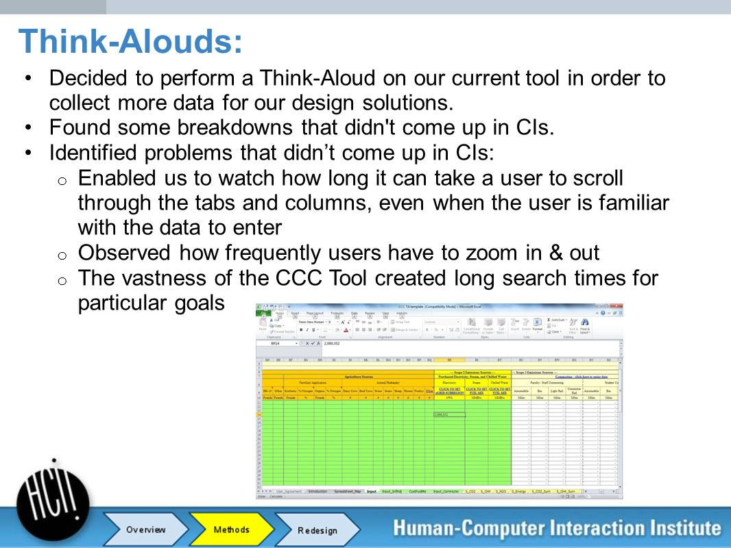 Think-Alouds: Decided to perform a Think-Aloud on our current tool in order to collect more data for our design solutions.