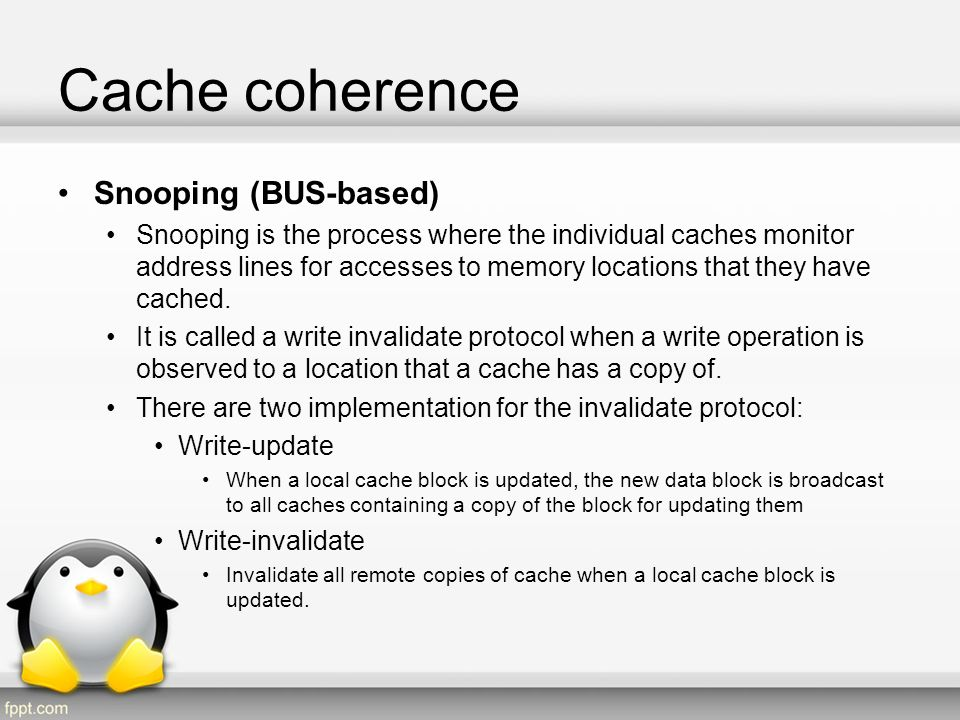 Cache coherence Snooping (BUS-based)