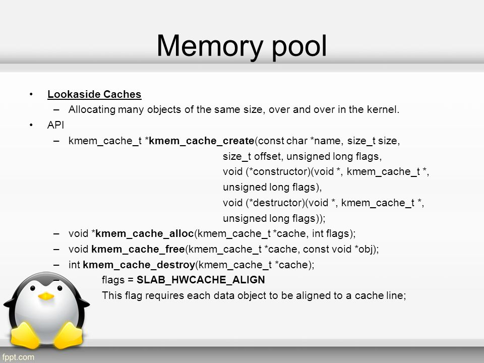 Memory pool Lookaside Caches