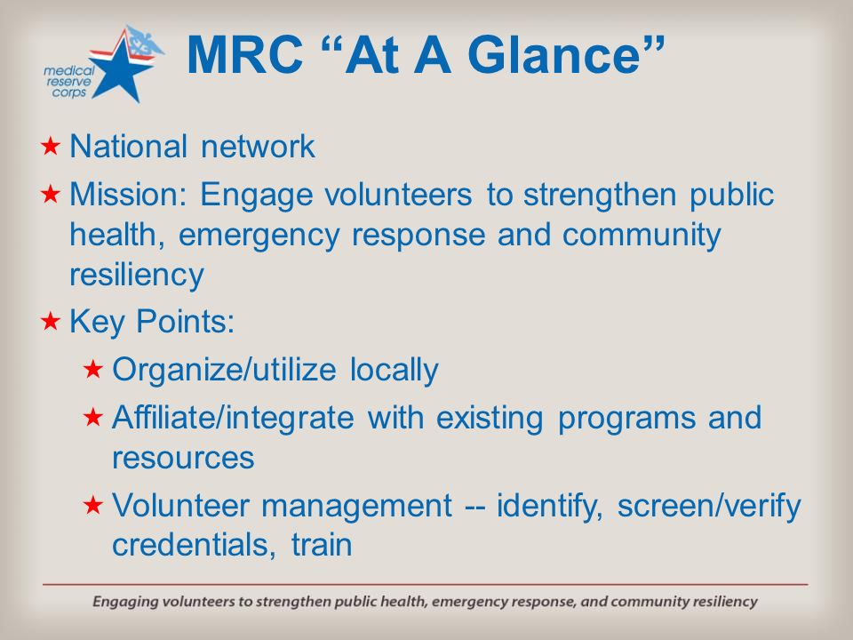 MRC At A Glance National network
