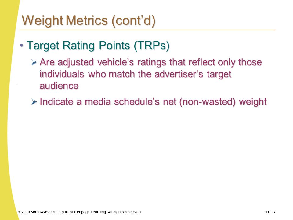 Weight Metrics (cont'd)