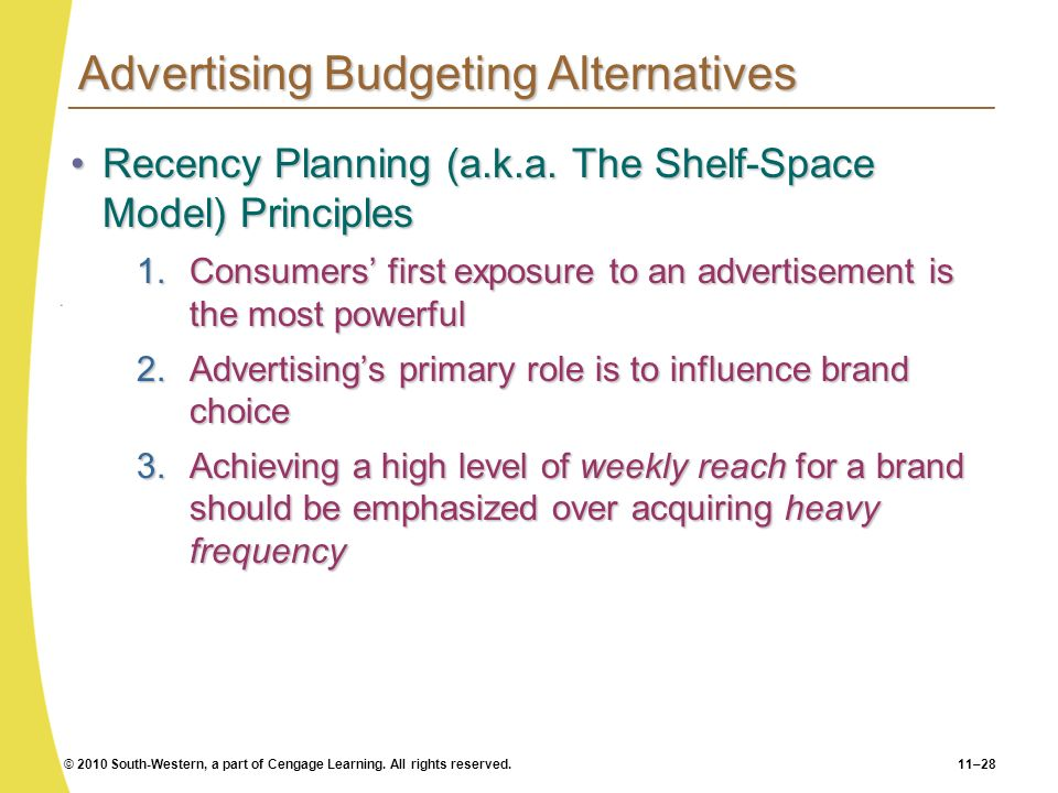 Advertising Budgeting Alternatives