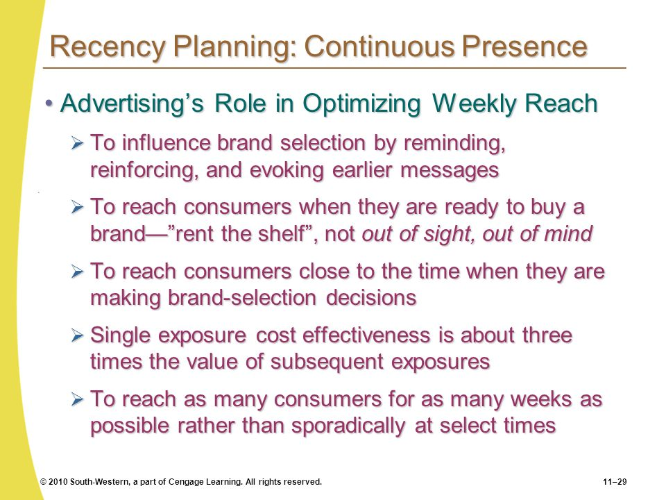 Recency Planning: Continuous Presence