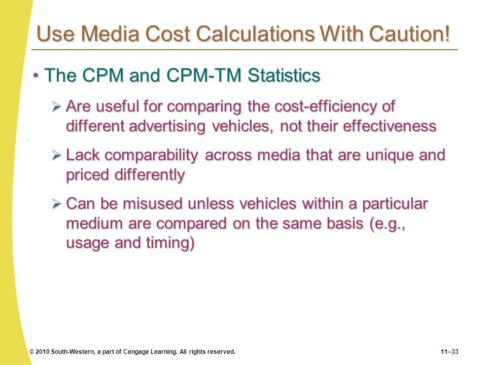 Use Media Cost Calculations With Caution!
