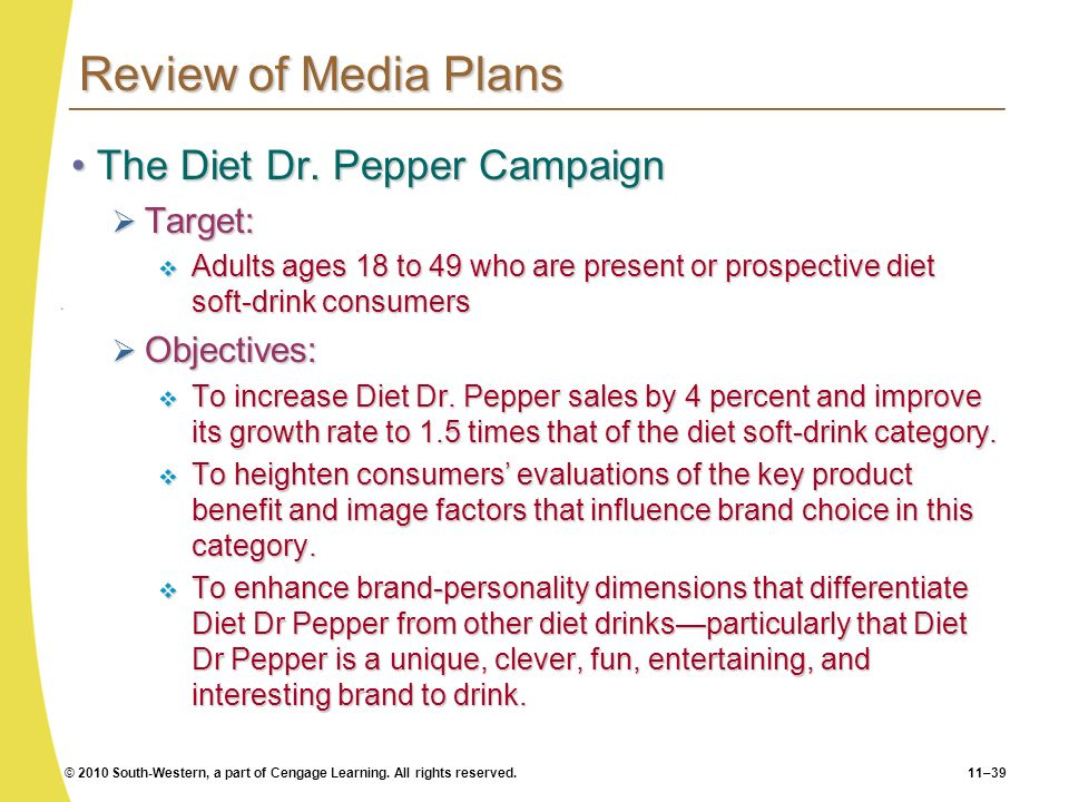 Review of Media Plans The Diet Dr. Pepper Campaign Target: Objectives: