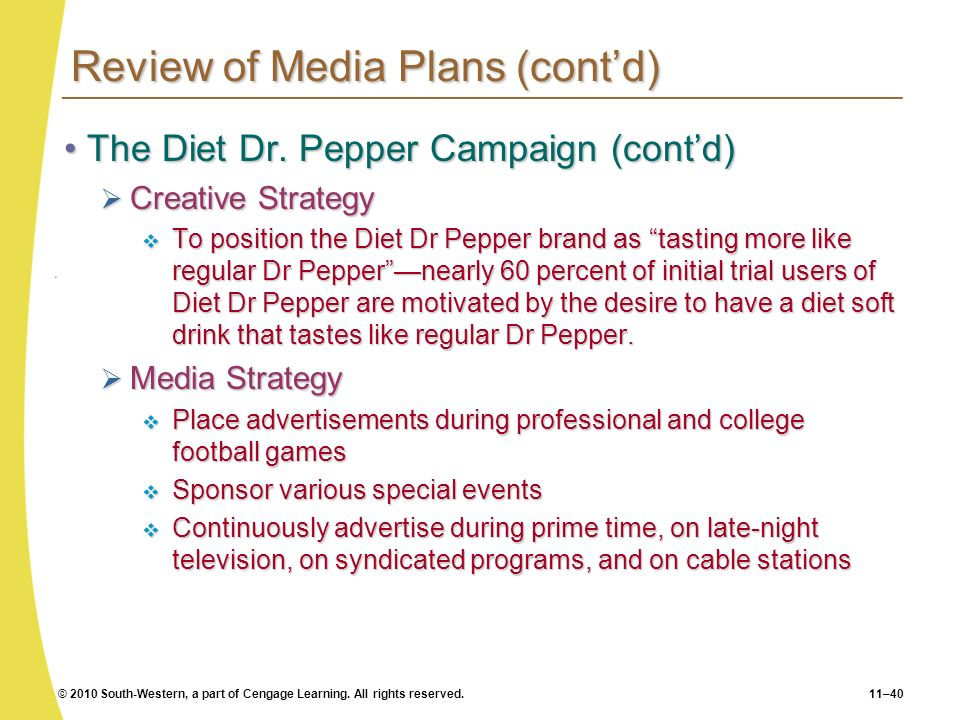 Review of Media Plans (cont'd)