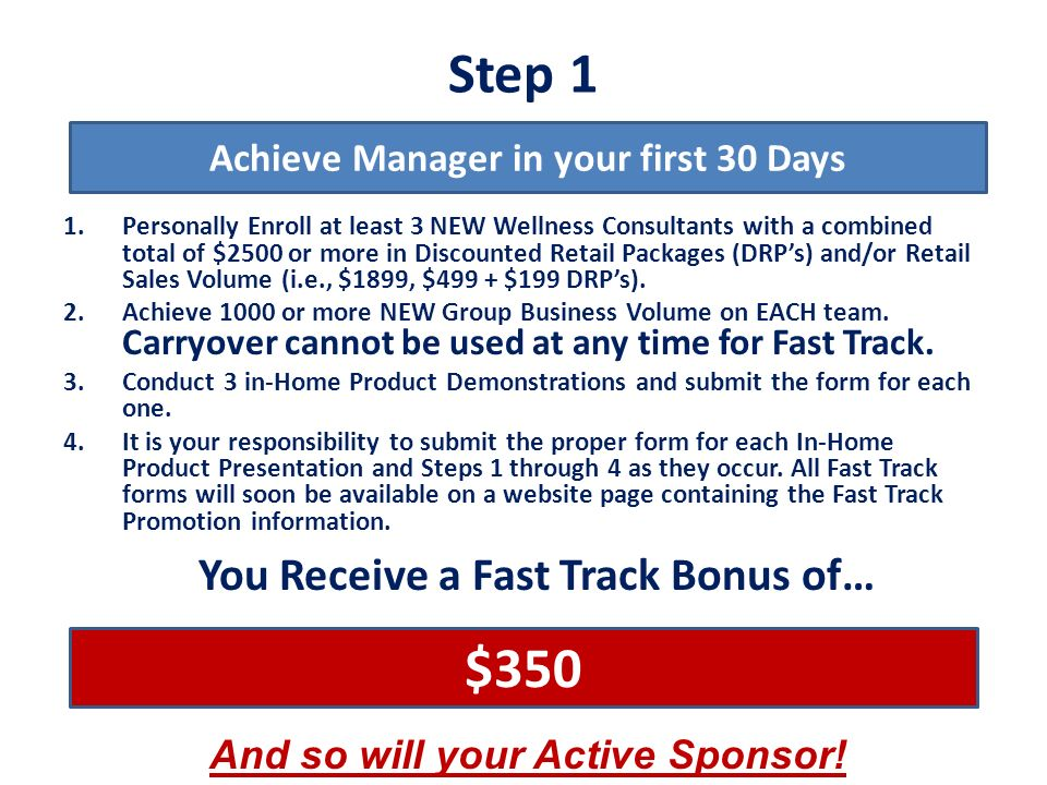 Step 1 $350 You Receive a Fast Track Bonus of…