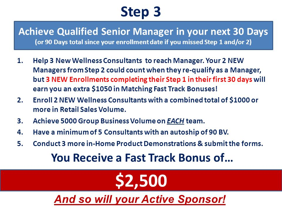 $2,500 Step 3 You Receive a Fast Track Bonus of…