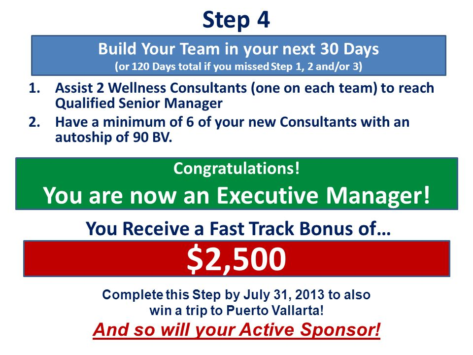 $2,500 Step 4 You are now an Executive Manager!
