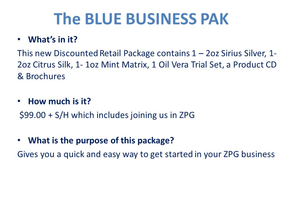 The BLUE BUSINESS PAK What's in it