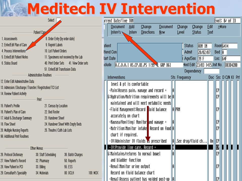 Meditech IV Intervention