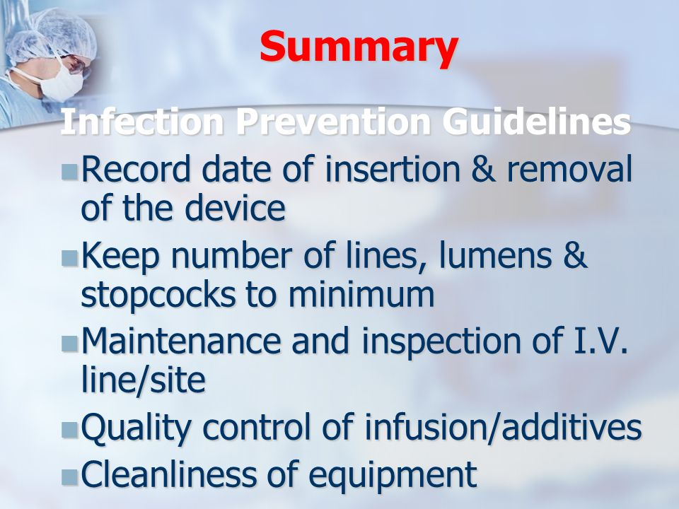 Summary Infection Prevention Guidelines
