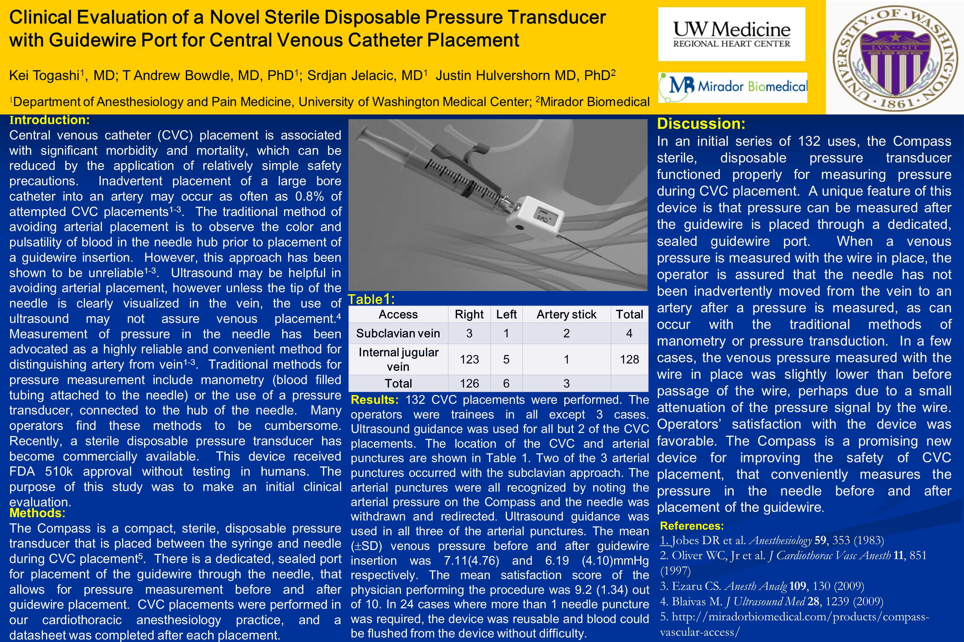 Clinical Evaluation of a Novel Sterile Disposable Pressure Transducer