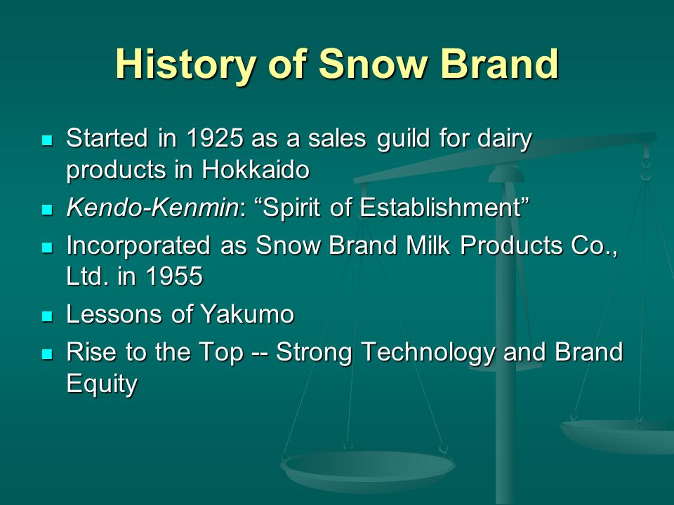 History of Snow Brand Started in 1925 as a sales guild for dairy products in Hokkaido. Kendo-Kenmin: Spirit of Establishment