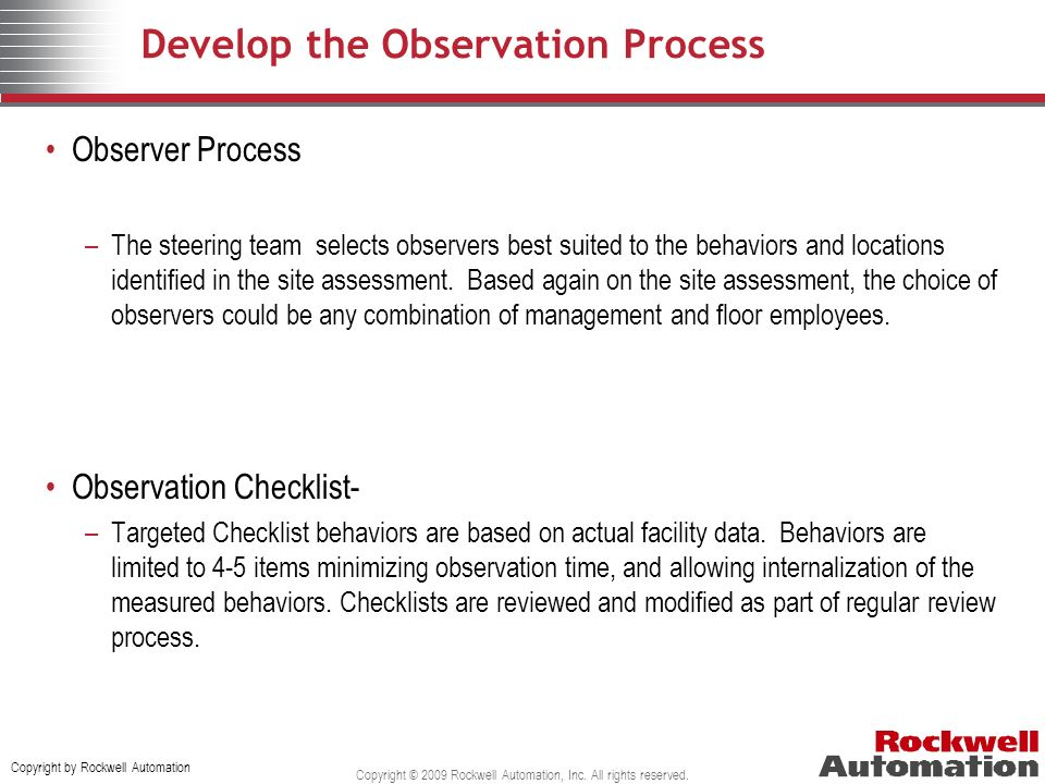 Develop the Observation Process