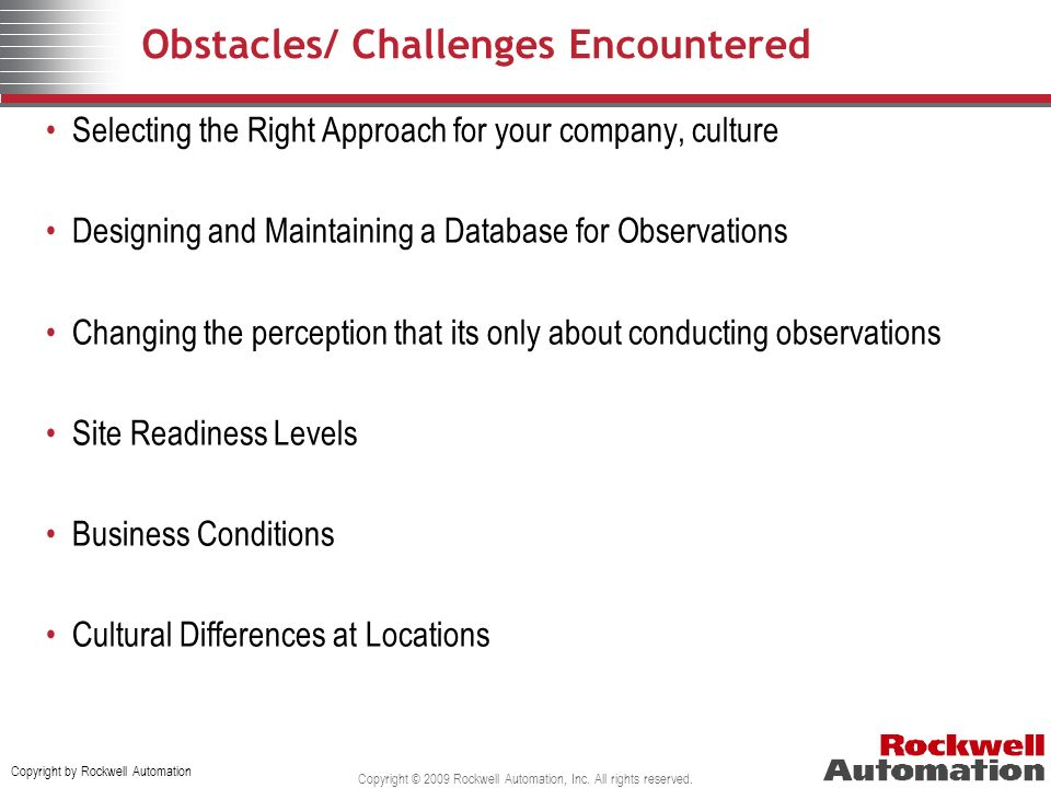 Obstacles/ Challenges Encountered