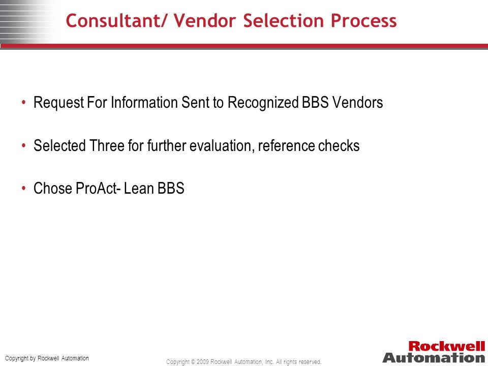 Consultant/ Vendor Selection Process