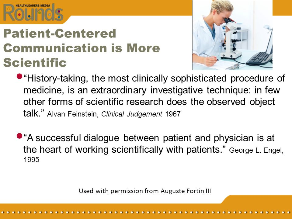 Patient-Centered Communication is More Scientific