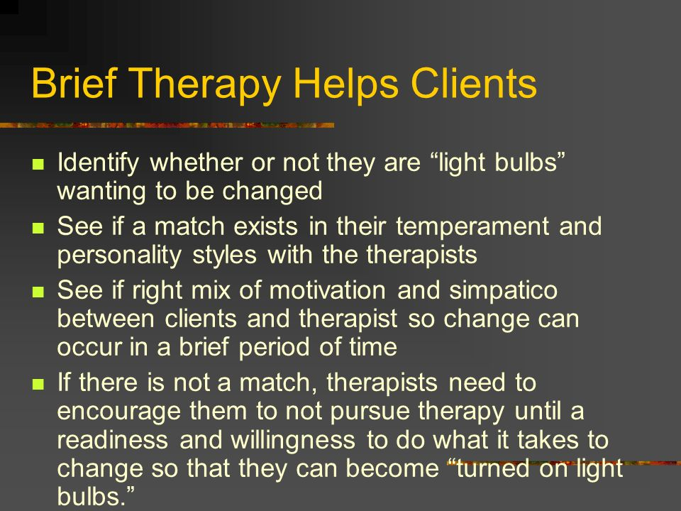 Brief Therapy Helps Clients