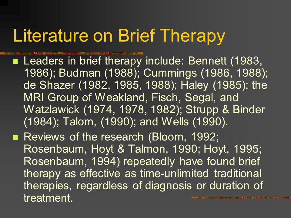 Literature on Brief Therapy
