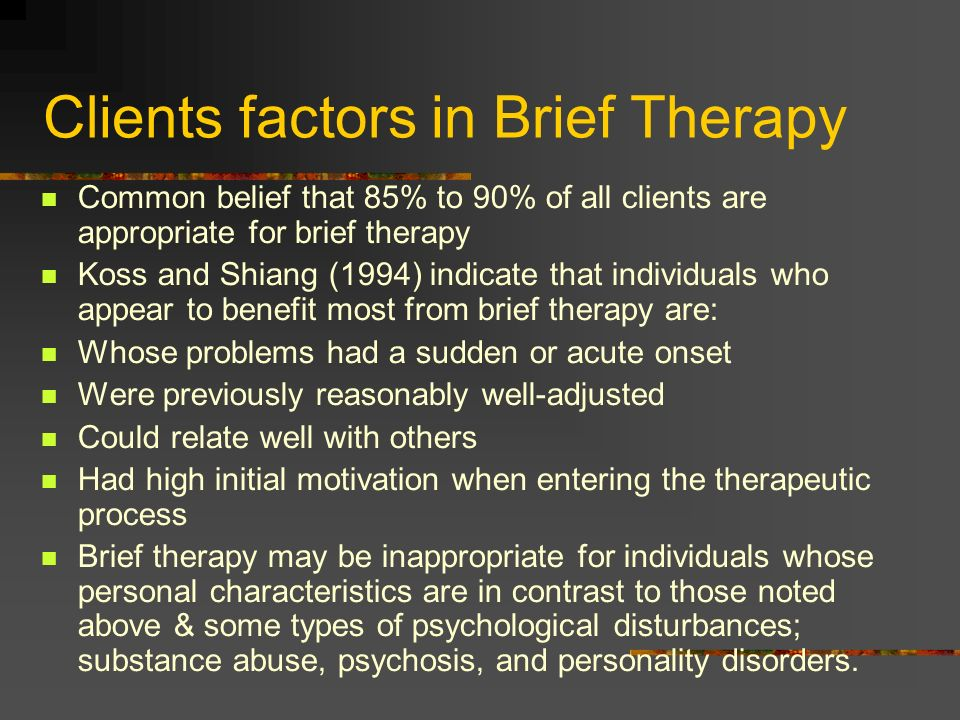 Clients factors in Brief Therapy