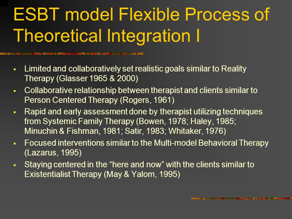 ESBT model Flexible Process of Theoretical Integration I