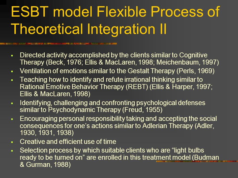ESBT model Flexible Process of Theoretical Integration II