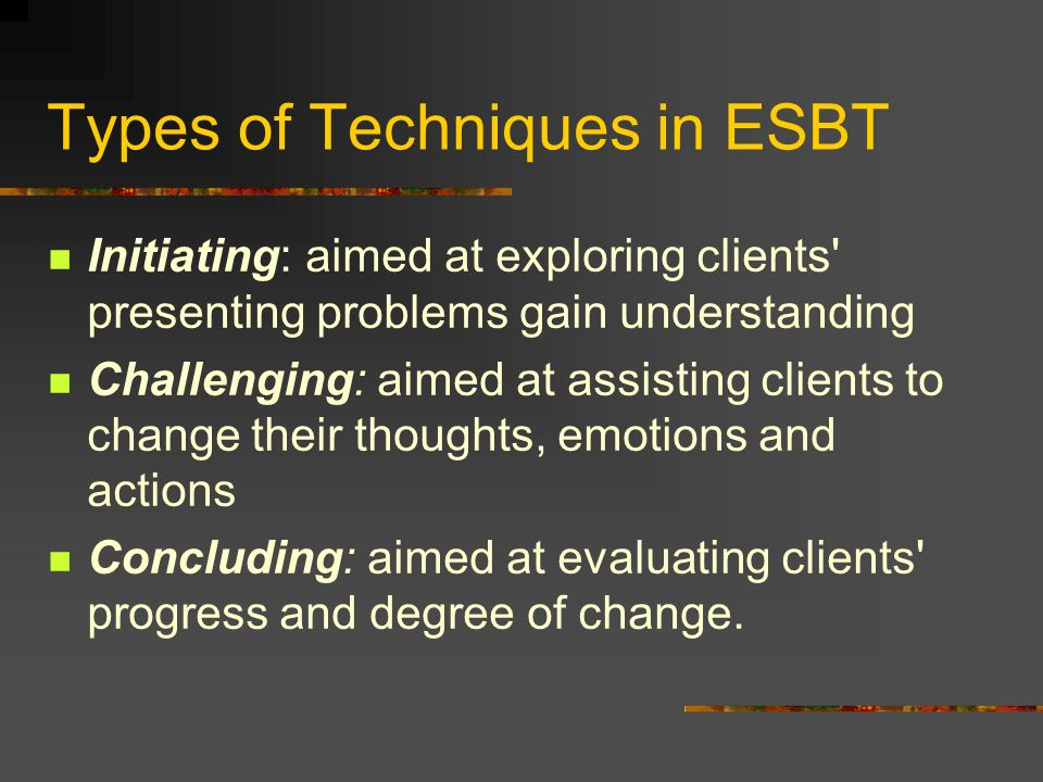 Types of Techniques in ESBT