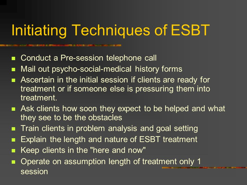 Initiating Techniques of ESBT