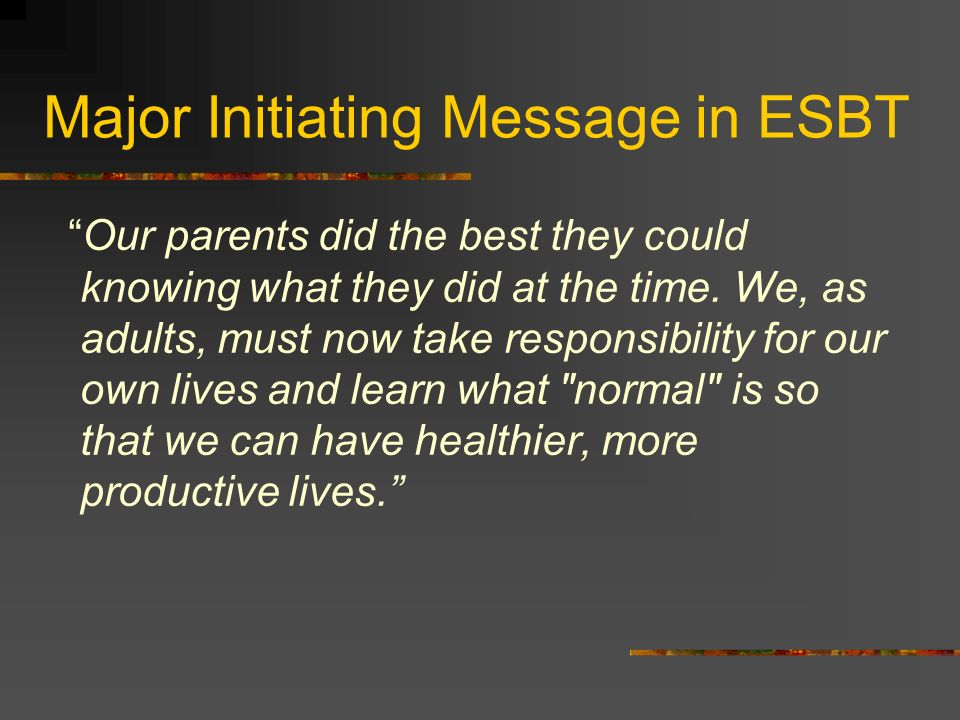 Major Initiating Message in ESBT