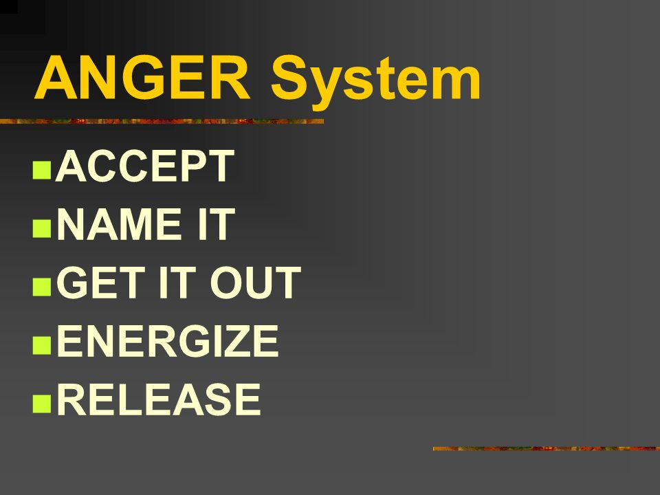 ANGER System ACCEPT NAME IT GET IT OUT ENERGIZE RELEASE