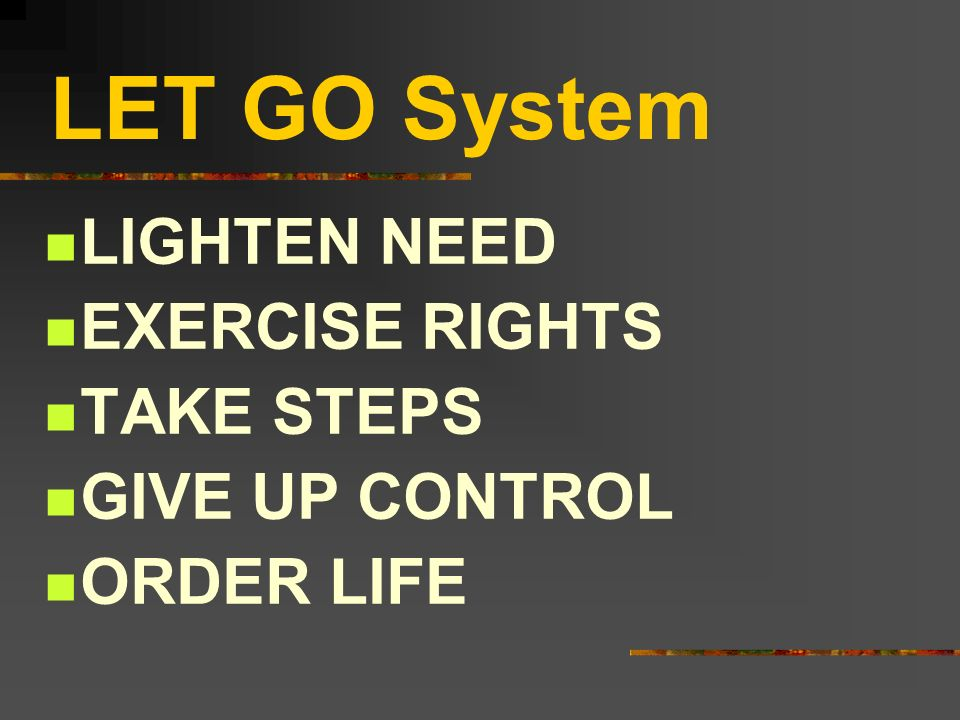 LET GO System LIGHTEN NEED EXERCISE RIGHTS TAKE STEPS GIVE UP CONTROL