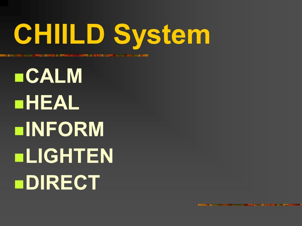 CHIILD System CALM HEAL INFORM LIGHTEN DIRECT