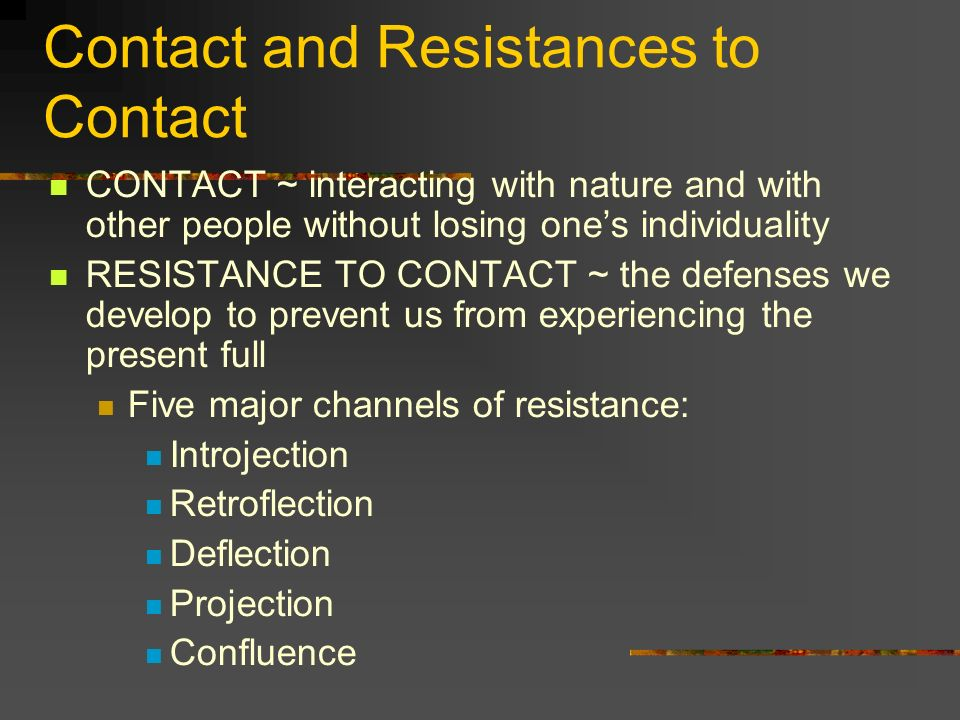 Contact and Resistances to Contact