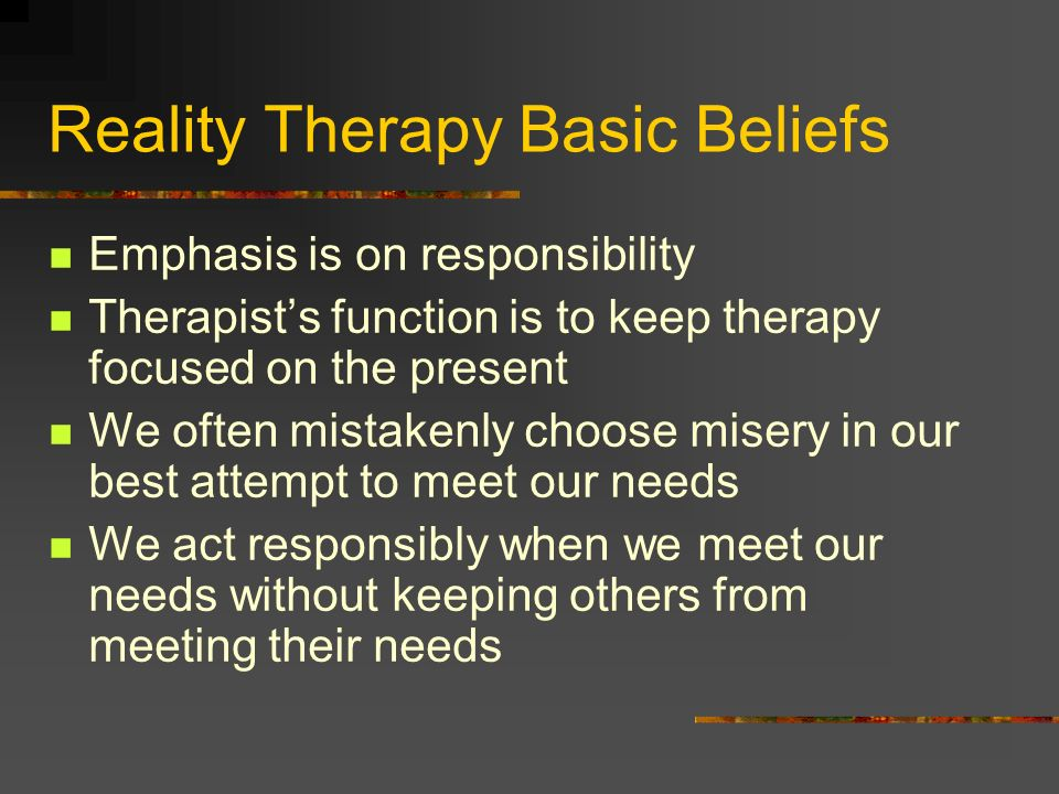 Reality Therapy Basic Beliefs
