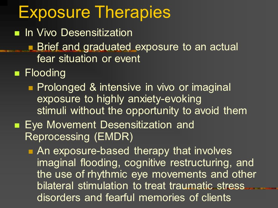 Exposure Therapies In Vivo Desensitization
