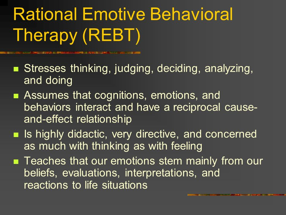 Rational Emotive Behavioral Therapy (REBT)‏