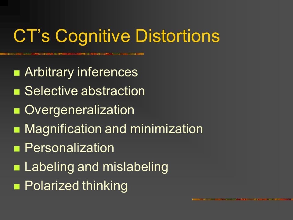 CT's Cognitive Distortions
