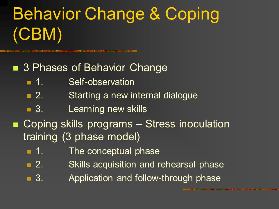 Behavior Change & Coping (CBM)‏